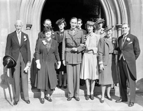 September 5th, 1942: The wedding took place at St Phillips Church, south west London, between Miss Joan Benham, an actress playing with a repertory company in Edinburgh, whose father is a well known theatrical manager and her mother is Olive Sturgess, formerly with the British National Opera Company, and now with ENSA, and Captain Martin L. Case of the Pioneer Corps. ' (Photo by Planet News Archive/SSPL/Getty Images)