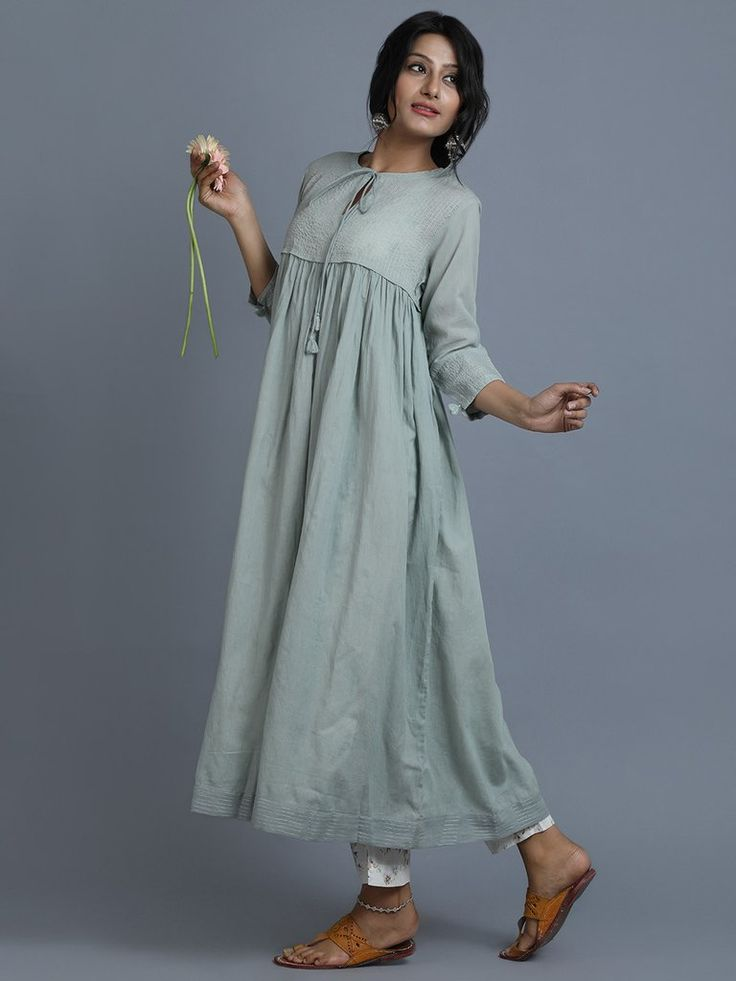 Sea Green Cotton Front Tie Up Kurta with Printed Slip