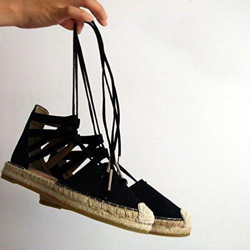 Oferta: 67.95€. Comprar Ofertas de BTJC Zapatos planos paja cuerda pescador zapatos plataforma baotou correa hueco sandalias romanas , black , 37 barato. ¡Mira las ofertas!