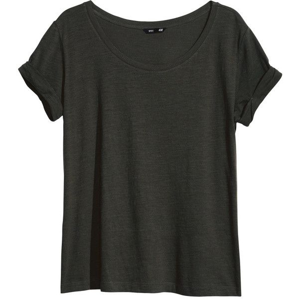 H&M Top in slub jersey (£3) ❤ liked on Polyvore featuring tops, t-shirts, shirts, tees, khaki green, khaki t shirt, green t shirt, khaki green shirt, h&m tops and h&m shirts