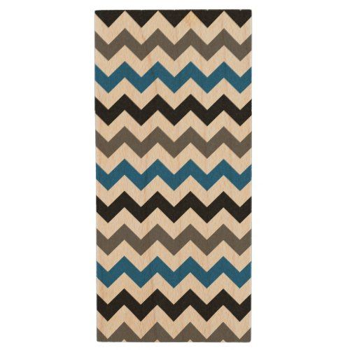 Chevron Pattern Background Blue Gray Black White Wood Flash Drive