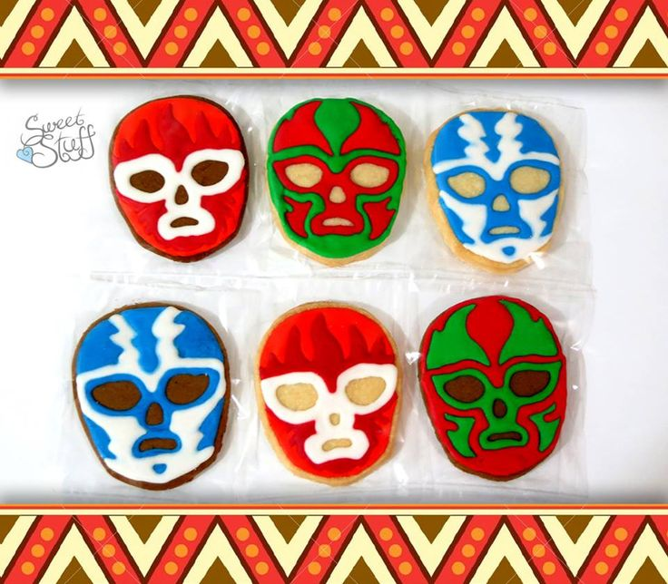 Unmask your creativity! These Mexican wrestler masks make it fun to crunch up your cookies.   #wrestlermask #decoratedcookies #sweetstuff