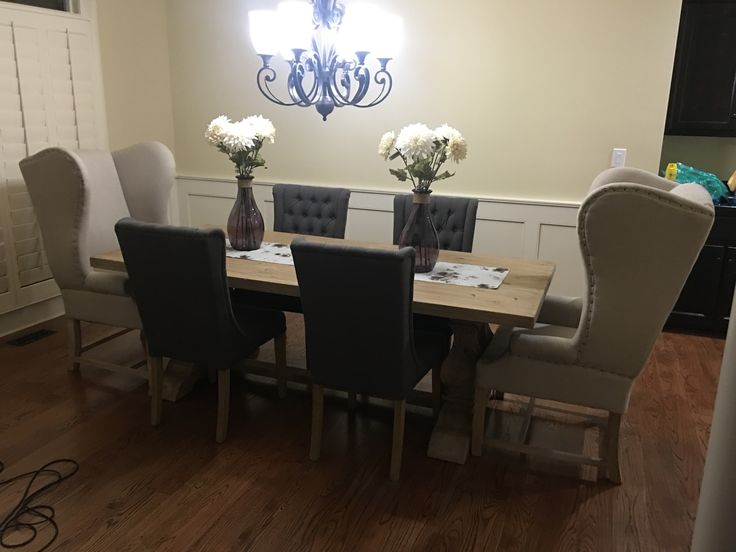 My beautiful new dining room table and chairs! Restoration Hardware look without the $! Purchased table and chairs at Merry's in Augusta GA.