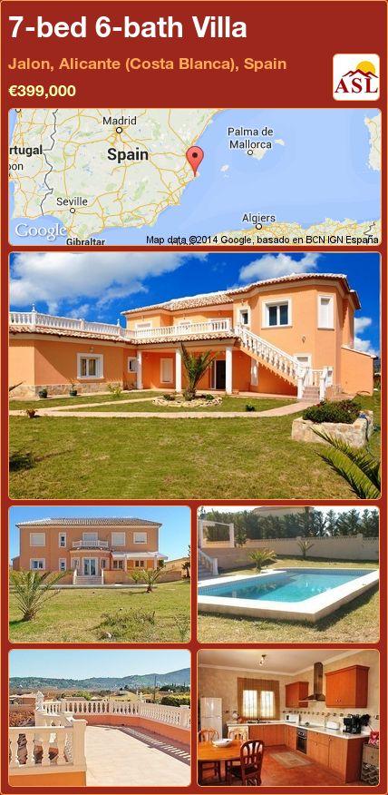 7-bed 6-bath Villa in Jalon, Alicante (Costa Blanca), Spain ►€399,000 #PropertyForSaleInSpain