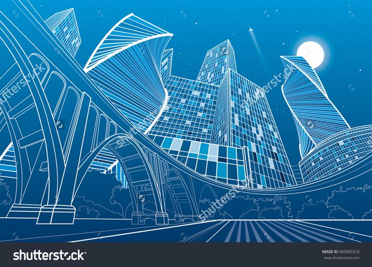 Big Bridge, Night City On Background, Industrial And Infrastructure Illustration, White Lines Landscape, Urban Scene, Neon Town, Vector Design Art - 483085318 : Shutterstock