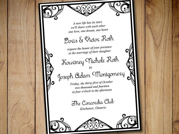 Printable Wedding Invitation Template By PaintTheDayDesigns
