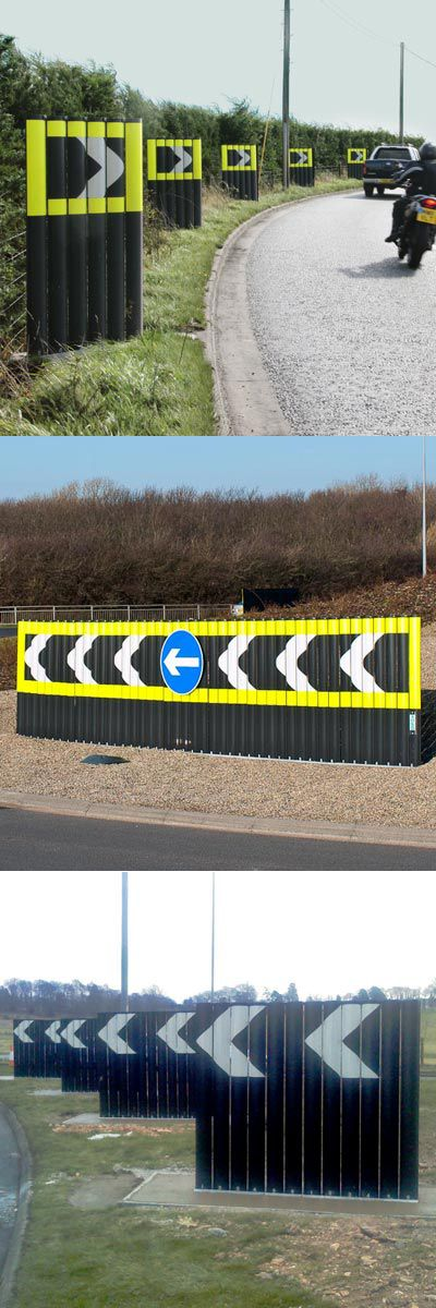 Chevroflex Ultra™ chevron boards are passively safe to BS EN 12767 for roundabouts and highlighting hazards on rural roads. The unique socket system allows the chevrons to be easily installed or replaced at the regulated TSRGD standard 515.1 / 515.1A, sharp deviation of route. #GlasdonUK #Chevrons #PassivelySafe #RoadSafety  #HighwaysSafety