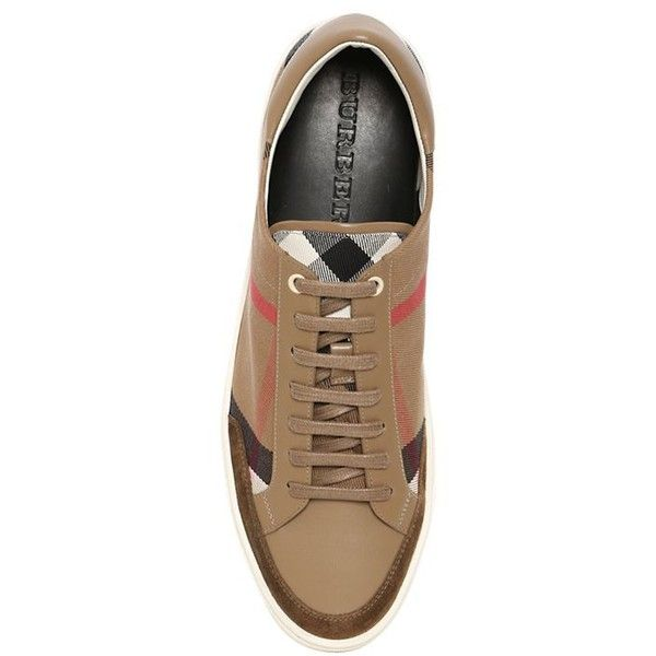 Burberry Men Checked Canvas Sneakers (645 CAD) ❤ liked on Polyvore featuring men's fashion, men's shoes, men's sneakers, mens suede sneakers, mens suede shoes, burberry mens shoes, burberry mens sneakers and mens canvas sneakers