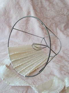 Angela Lace: How to cover a lampshade the easy way... I would like to try this with strips of fabric