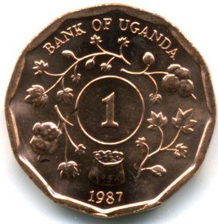1 Shilling #Uganda -1987 Raffigura lo stemma dello Stato, dove compare, la Gru Coronata grigia che è l'uccelo nazionale.