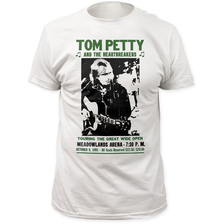 $34.50 (http://www.rockerrags.com/tom-petty-and-the-heartbreakers-vintage-concert-t-shirt-tom-petty-and-the-heartbreakers-into-the-great-wide-open-tour-meadowlands-arena-october-9-1991-promotional-poster-artwork-mens-white-shirt/) This Tom Petty and the Heartbreakers Into the Great Wide Open concert tour tshirt features the promotional poster artwork for the classic rock band's October 1991 Meadowlands Arena show. #tompettyandtheheartbreakers #bandtees #concerttshirts #rockerrags