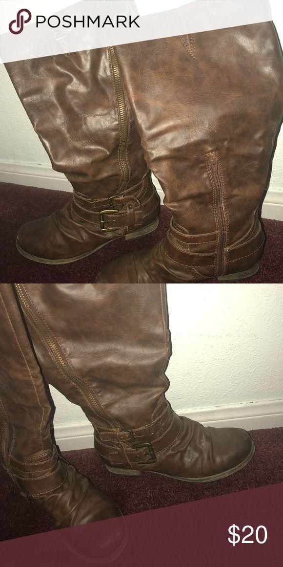 brown boots Tall Carlos Santana boots Carlos Santana Shoes Winter & Rain Boots