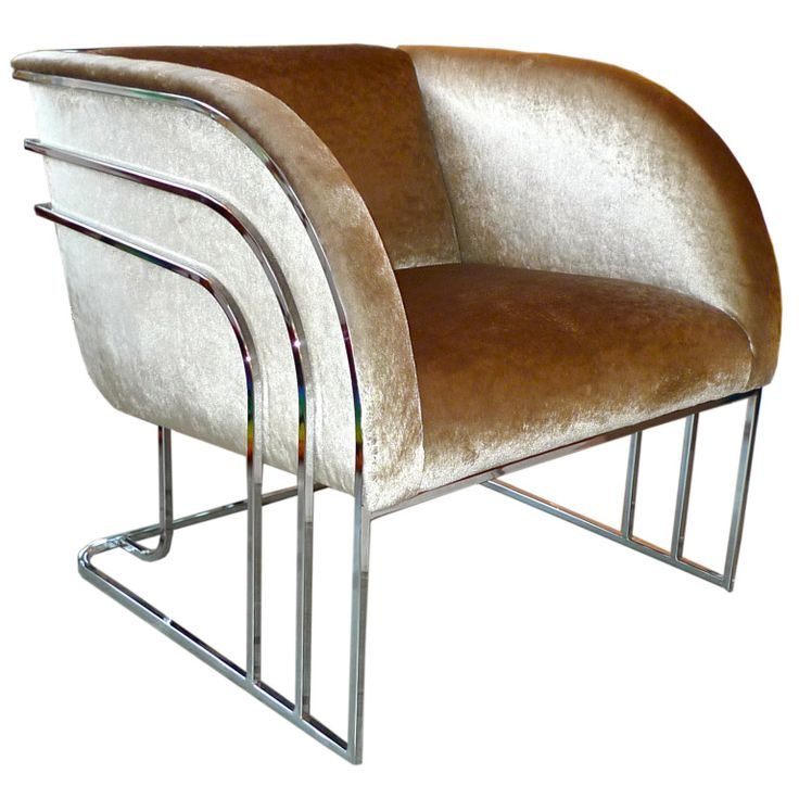 Milo Baughman Chrome Art Deco Club Chair