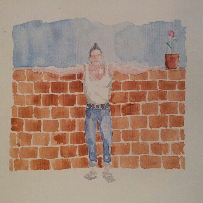 Er canotta che scoatta. Canotta man pretend to be cool. #Personaggetti #fruso #artworks #artwork #watercolor #watercolour #mywatercolor #acquerelli #acquerello #cool #coatto #wall #rosa #rose #muretto #igersroma