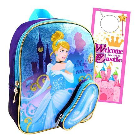 disney princess cinderella mini toddler preschool backpack with sparkles 11 ~ plus princess castle door hanger
