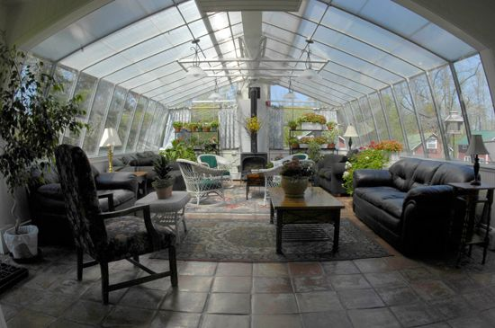 Attached Patio Greenhouse With Fireplace Gardening