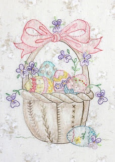 Easter Basket...Crabapple Hill Beautiful example of shadow work embroidery