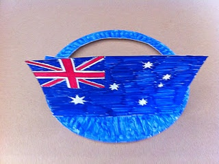 Australia Day Craft for Kids: Hat using a paper plate and an Aussie Flag.
