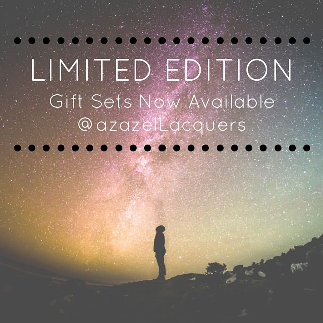 Limited Edition Gift Sets by azazel Lacquers - very limited stock now available, includes our limited edition colours & glitters. Makes for a perfect gift for health conscious beauties.