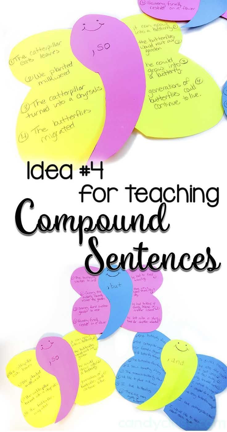 Comma butterflies! Cute! Find other ideas for teaching compound sentences at this blog post too! There are also other grammar ideas at this blog!