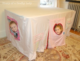 Too cute! home made fort!!! Diary of a Crafty Lady: Sheet Fort - Over the Table