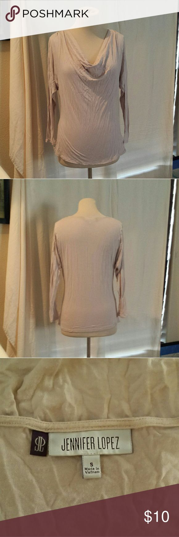 Jennifer Lopez Blush Cowl Neck 3/4 Sleeve Top Modeled on a medium mannequin, so on a small it would be looser.   Length: 25in Pit to pit laying flat: 21in stretches to 30in Waist laying flat: 17in stretches to 26in  Sleeve length is 20in  #nude #blush #cream #tan #ivory #beige #peach #slouchy #cowlneck #Cowl #threequartersleeve #silky #fancy #soft #spring #summer #fall #winter #anytime #goeswitheverything #neutral #work #workattire #office #professional #neutral Jennifer Lopez Tops Tees…
