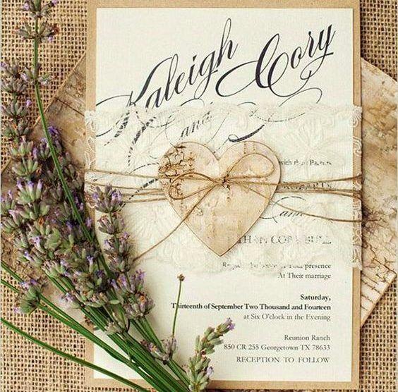 12 Estilos de convites de casamento rústico - Salve a Noiva