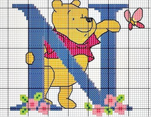 #Monograma Ursinho Pooh - letra N #bordado #CoatsCorrente