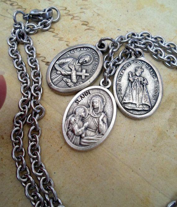 Fertility Prayer 3 Holy Medal Necklace St. Gerard by MarysPrayers