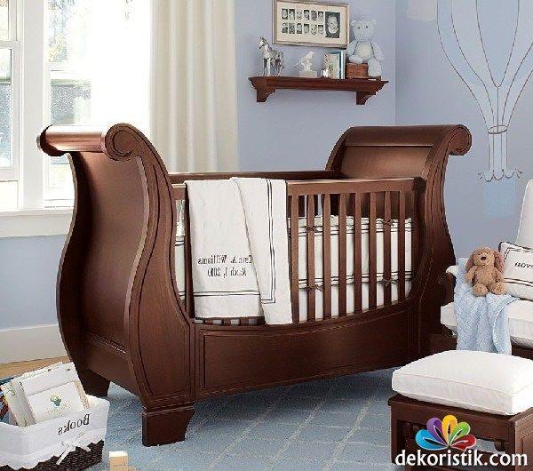 30 Erkek Bebek Karyolası Modeli Dekoristik Ahşap Bebek Karyolası