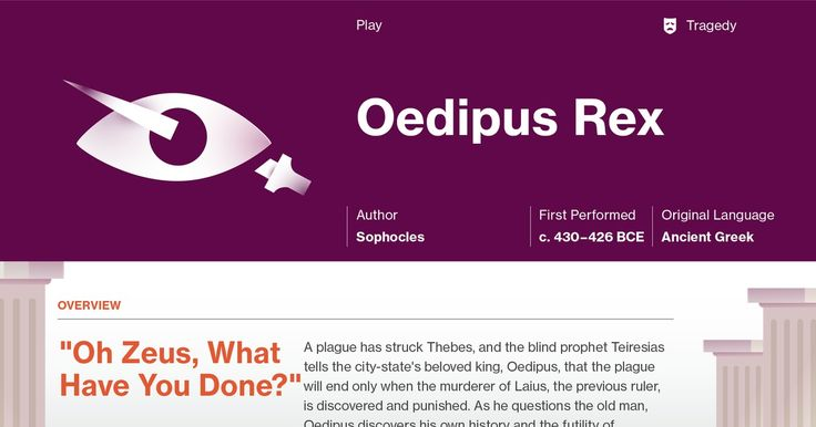 This study guide and infographic for Sophocles' Oedipus Rex offer summary and analysis on themes, symbols, and other literary devices found in the text. Explore Course Hero's library of literature materials, including documents, Q&A pairs, and flashcards created by students and educators.