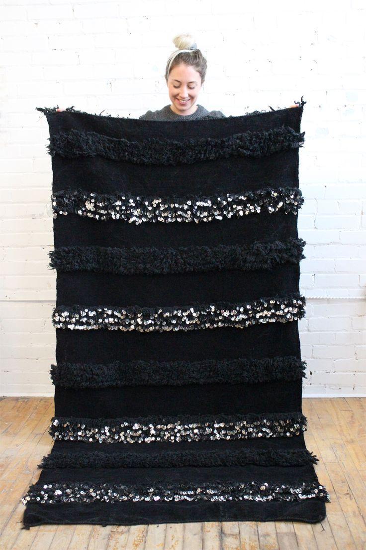 Glamorous black Handira blanket with tons of metallic sequins -From Baba Souk