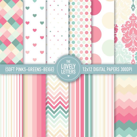 Pinks Greens and Beige Digital Papers for baby showers, paper party decor, cards, scrapbooking and crafts. Printable Designs - DIY.. $3.00, via Etsy.