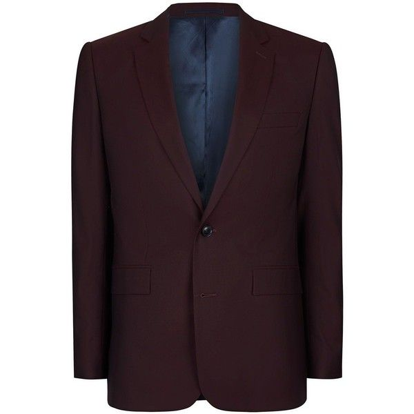 Charlie CASELY-Hayford X Topman Maroon Skinny Wedding Suit Jacket (775 MYR) ❤ liked on Polyvore featuring men's fashion, men's clothing, men's suits, red, topman mens suits, mens fitted suits, mens formal suits, mens skinny fit suits and mens beach wedding apparel