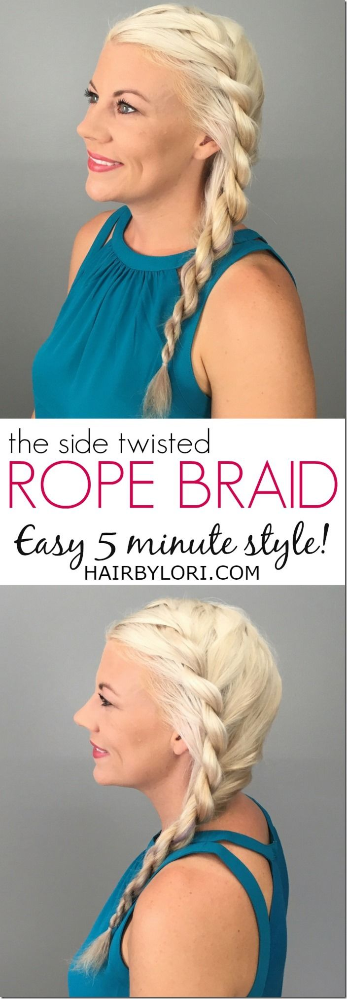 Side Rope Braid tutorial - easy 5 minute hairstyle