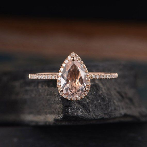6x9mm Pear Shaped Morganite Engagement Ring Rose Gold Halo Diamond Bridal Weddin…