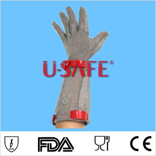 Carnicero Guantes Norma CE en 388 Lelvels 15 cm puño largo dedo de Cota de Malla de Metal Guante Guante De Soldadura de Acero Inoxidable 100%(China (Mainland))