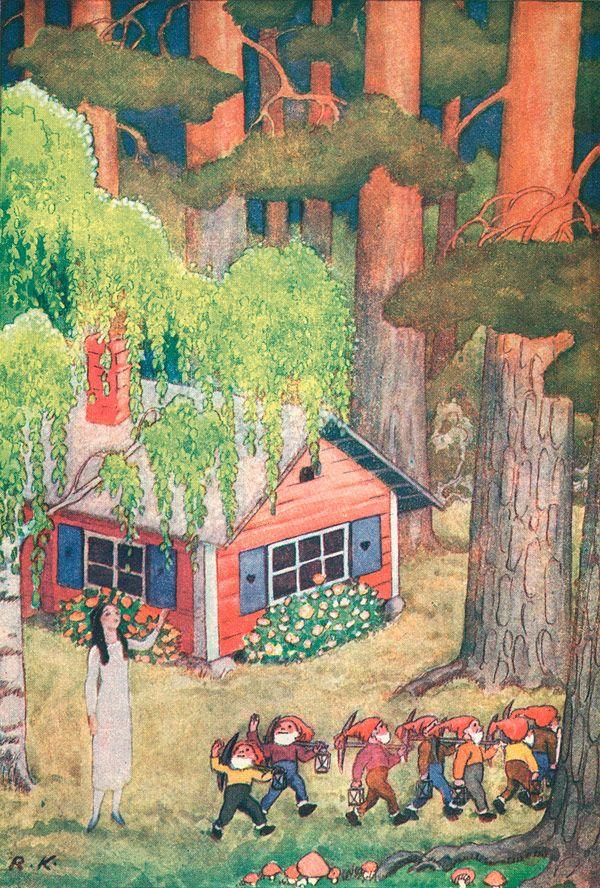 Rudolf Koivu - Finnish illustrator (1930's) Snow White and The Seven Dwarves