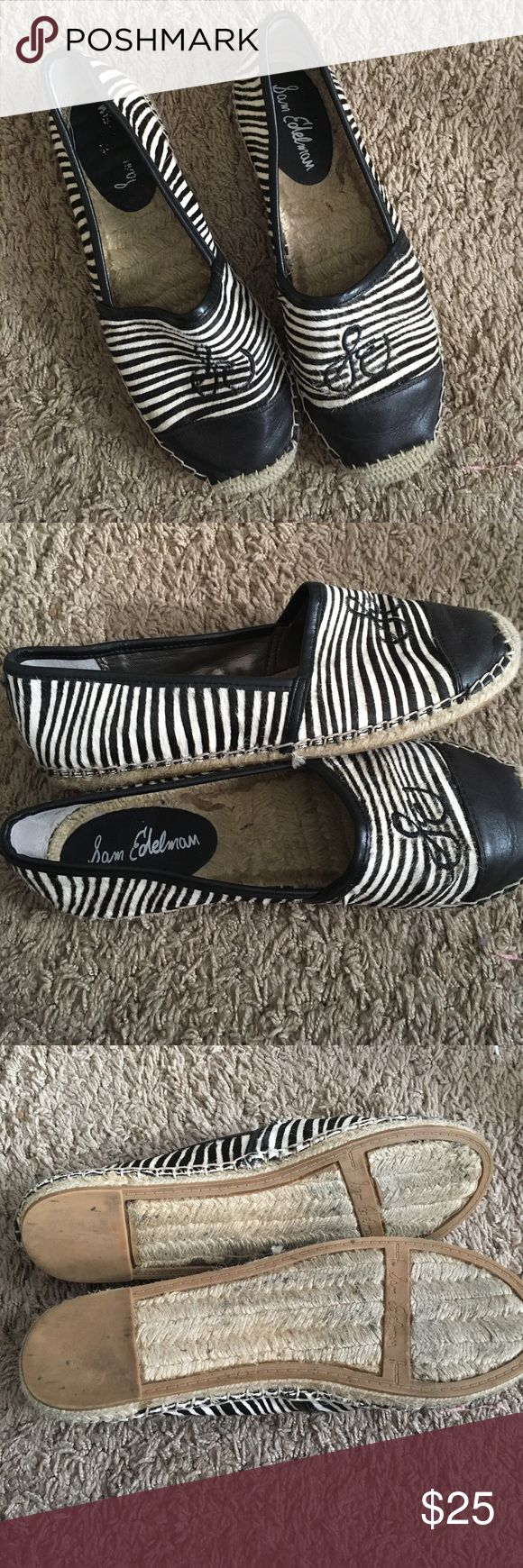 Sam Edelman leather animal print espadrilles Great shape, worn a couple of times Sam Edelman Shoes Espadrilles