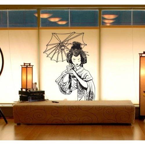 vinyl wall art decal sticker japanese geisha 20 x32 asian decor 295 everything. Black Bedroom Furniture Sets. Home Design Ideas