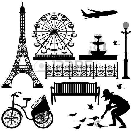 bench: Парижская улица Парк Эйфелева башня Колесо обозрения Иллюстрация