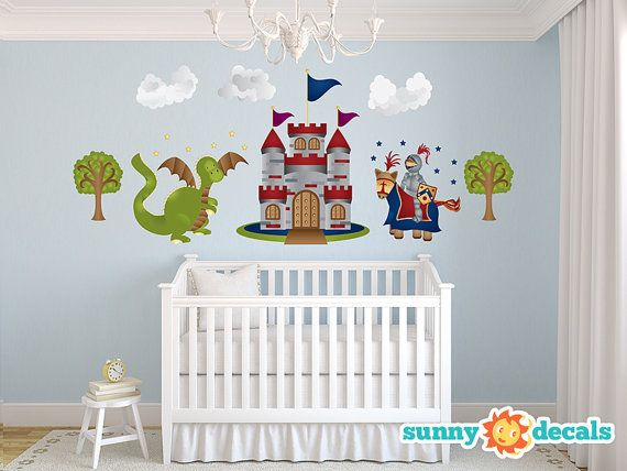 Knight castle dragon jumbo wall stickers wall decals for Castle wall mural sticker