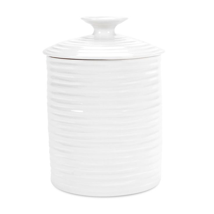 "Beautiful yet practical, Sophie Conran's versatile white lidded storage jar in durable porcelain makes a lovely addition to any pantry or kitchen. Its uplifting tactile design has a fresh contemporary feel, while its crisp white glaze works with in any décor. 2.2-pint/1.5 L capacity. 5.5"" diameter, 4.75"" tall. Porcelain. Dishwasher-, microwave-, oven-, and freezer-safe. By Sophie Conran for Portmeiron."