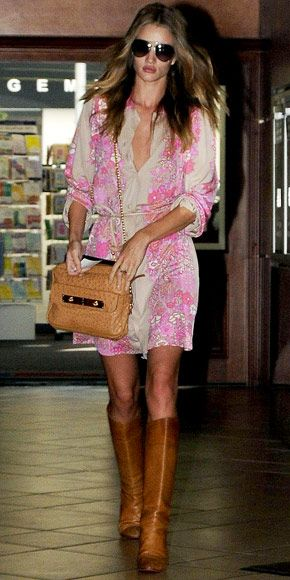 Rosie Huntington-Whiteley: Rosie Huntington Whiteley, Summer Dresses, Pink Dresses, Dresses Boots, Style, Outfit, Brown Boots, The Dresses, Floral Dresses