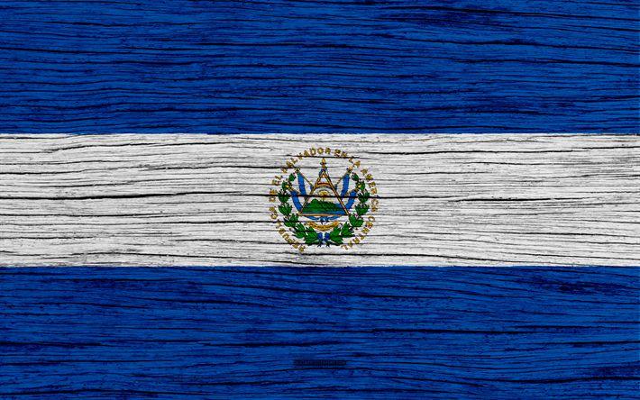 Download wallpapers Flag of Salvador, 4k, North America, wooden texture, Salvadoran flag, national symbols, Salvador flag, art, Salvador