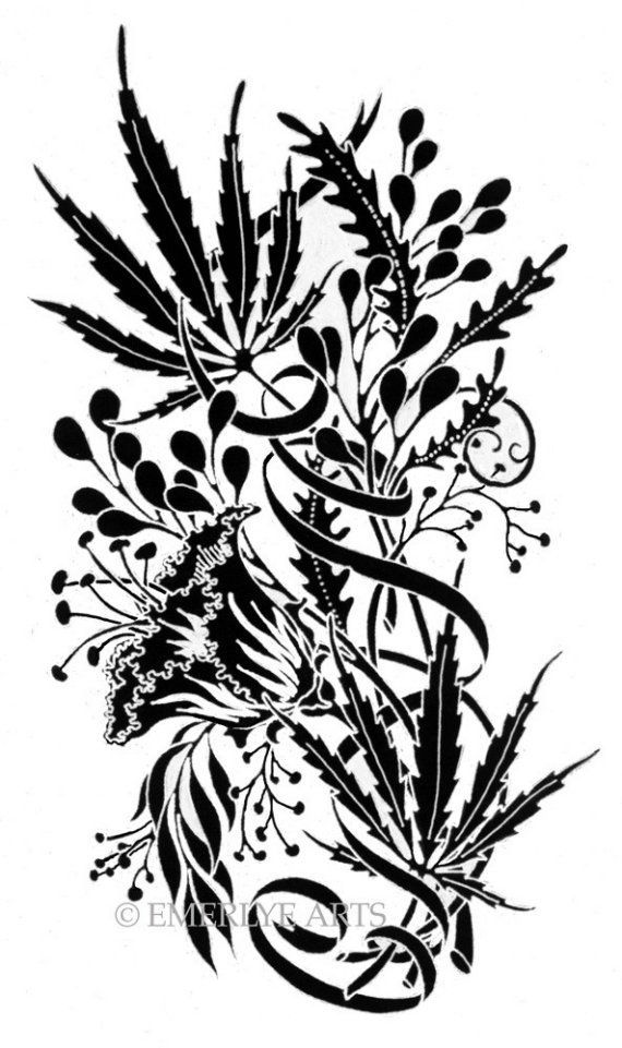 23 best weed tattoo outline designs images on pinterest for Tattoo of weed leaf