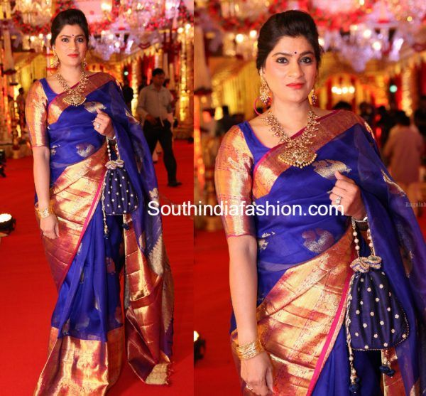 wedding guest blue kanchi organza saree 600x557 photo