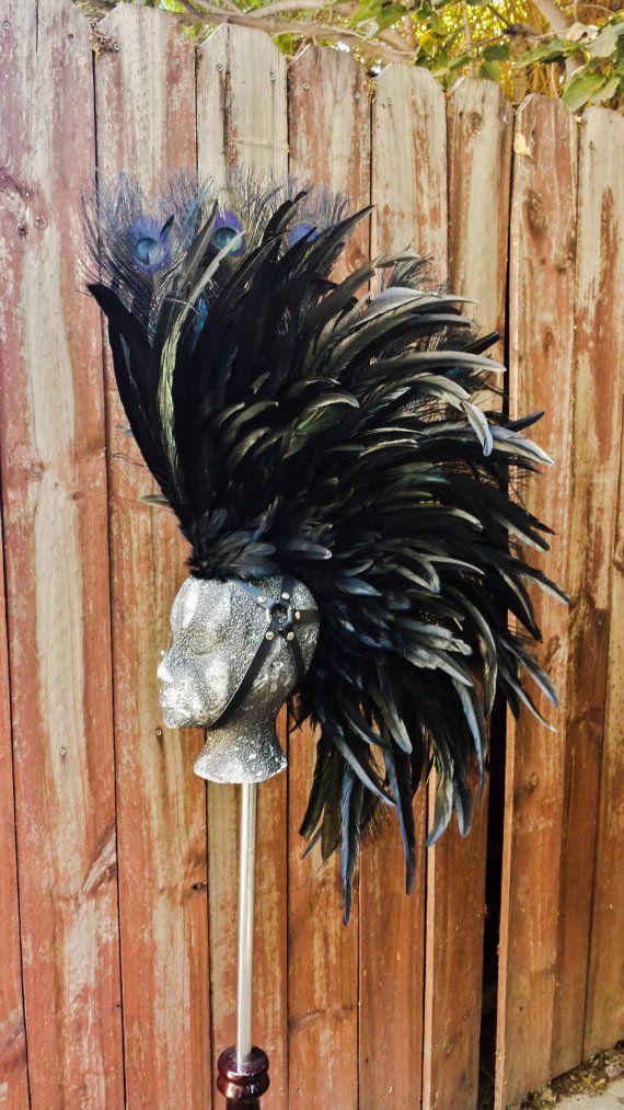 Black Warrior Feather Mohawk Headdress Mad Max por FirebirdLeather