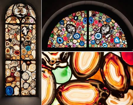 At first glance, these appear to be conventional stained-glass windows with a modern design, but the components of the windows are a bit unusual, they contain slices of agate. In 2009, the Grossmünster (one of the three major churches of Zürich) has been enriched with twelve exquisite windows by Sigmar Polke. He has given the western half of the church seven windows where the glass has been impregnated with thin slices of agate. Rockhounding purists might be dismayed by the fact that the geod...: Grossmünster Cathedrals, Stunning Stained, Stained Glasses Agates, Vitral Stained Glasses Window, Agates Slices, Cathedrals Switzerland, Agates Window, Agates Mosaics Window, Modern Stained Glasses Window