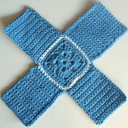 Crochet box: laid flat it looks like a plus sign